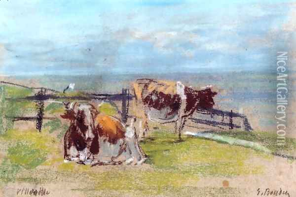 Cows on a Cliff at Villerville Oil Painting - Eugene Boudin