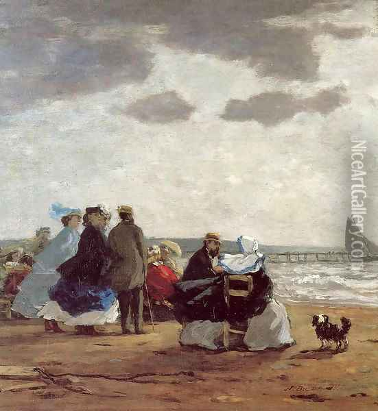 On the Beach, Dieppe Oil Painting - Eugene Boudin