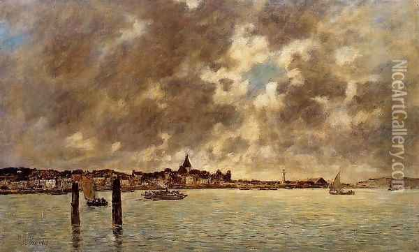 The Seine at Quilleboeuf Oil Painting - Eugene Boudin