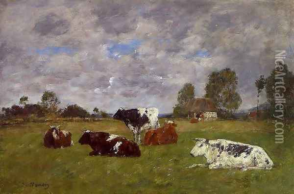 Cows in a Pasture Oil Painting - Eugene Boudin