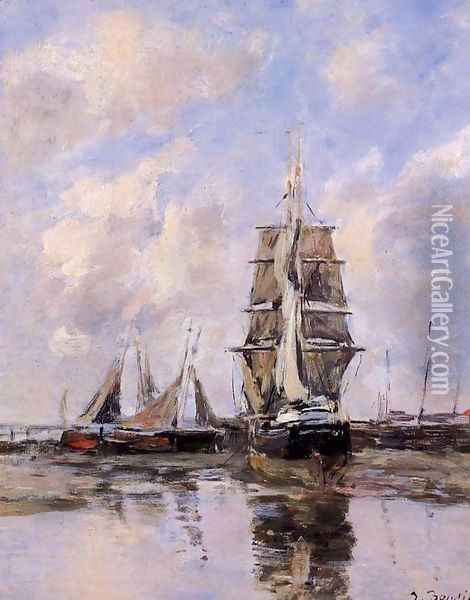 Beached Boats Oil Painting - Eugene Boudin