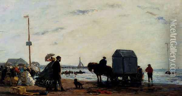 Beach Scene, Trouville Oil Painting - Eugene Boudin