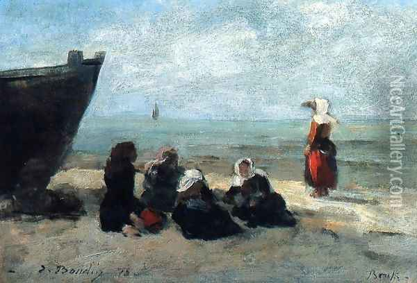 Fisherwives Waiting for the Boats to Return Oil Painting - Eugene Boudin