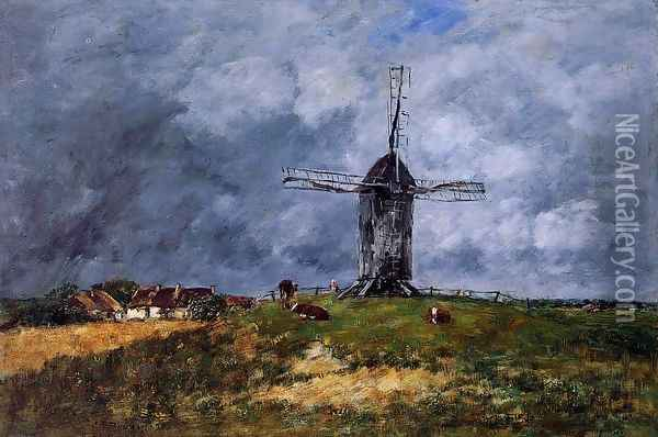 Cayeux, Windmill in the Countryside, Morning Oil Painting - Eugene Boudin