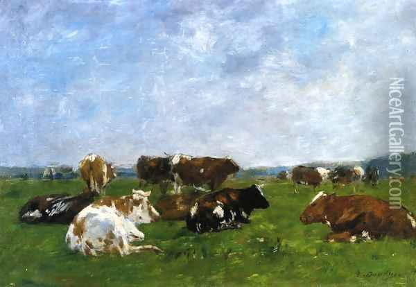 Cows in a Pasture I Oil Painting - Eugene Boudin