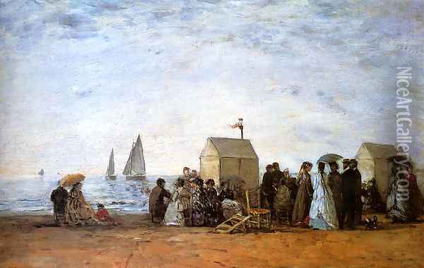 The Beach at Trouville 1867 Oil Painting - Eugene Boudin