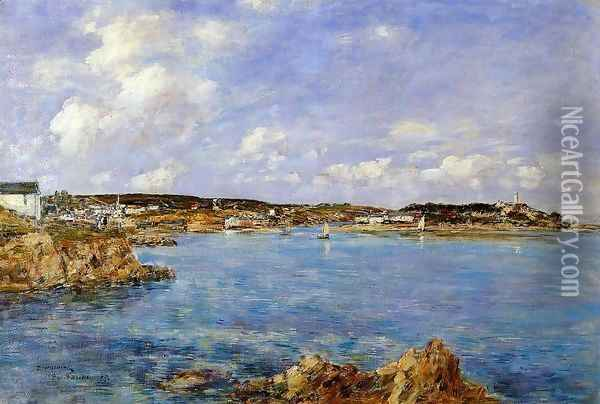 Douarnenez, the Bay, View of I'Ile Tristan Oil Painting - Eugene Boudin