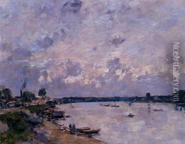 The Banks of the Seine at Caudebec en Caux Oil Painting - Eugene Boudin