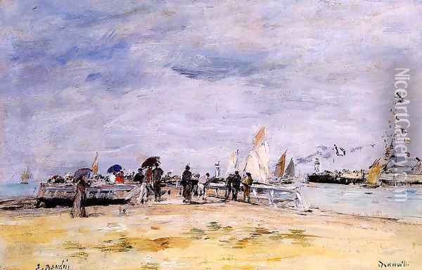 Deauville, the Jetty Oil Painting - Eugene Boudin