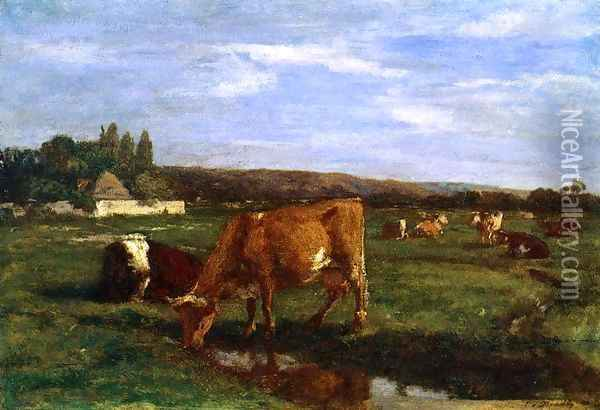 Pasture in the Touques Valley Oil Painting - Eugene Boudin