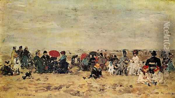 The Beach at Trouville VIII Oil Painting - Eugene Boudin