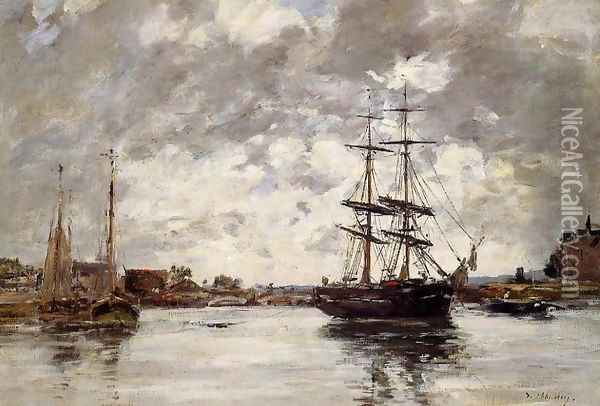 Bridge over the Touques Oil Painting - Eugene Boudin