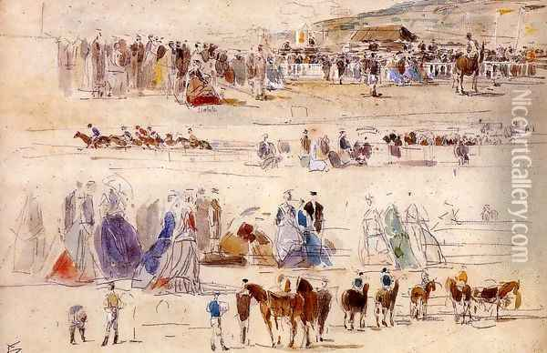 The Racetrack at Deauville Oil Painting - Eugene Boudin