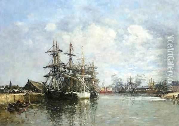 Le Havre, The Boat Basin Oil Painting - Eugene Boudin