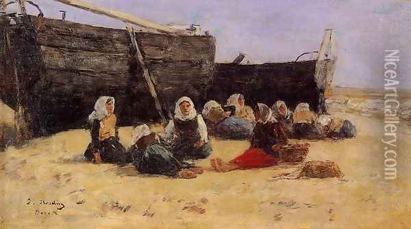 Fishwomen Seated on the Beach at Berck Oil Painting - Eugene Boudin