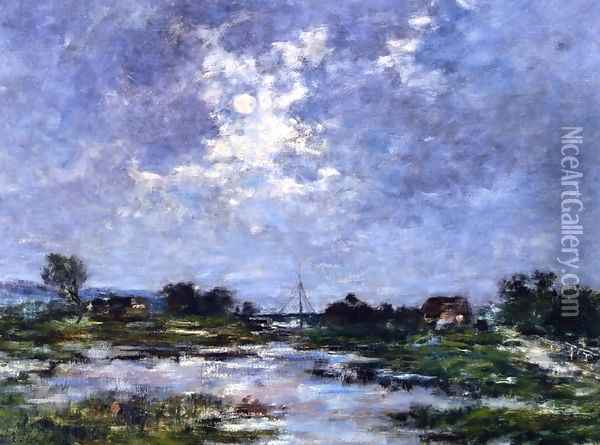 Moonlight on the Marshes, The Toques Oil Painting - Eugene Boudin