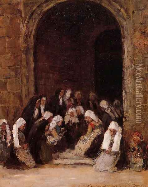 Leaving Mass in Brittany Oil Painting - Eugene Boudin
