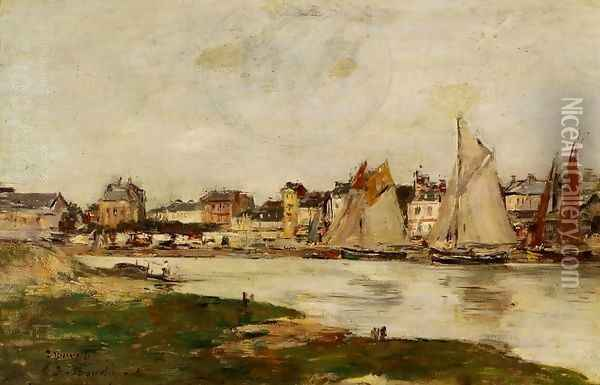 View of the Port of Trouville, High Tide Oil Painting - Eugene Boudin