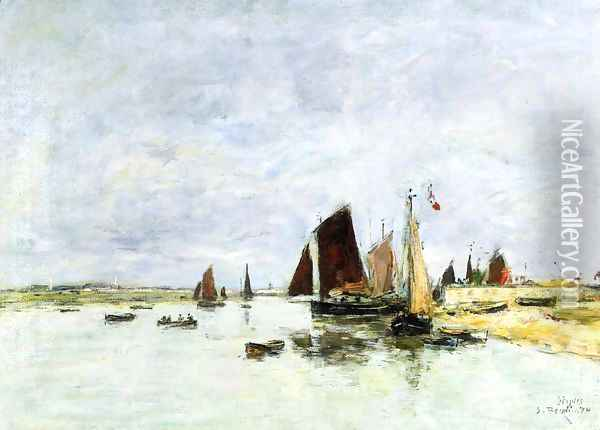 Etaples, Boats in Port Oil Painting - Eugene Boudin