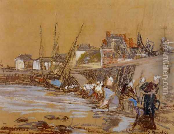 Laundresses in the Port of Honfleur Oil Painting - Eugene Boudin
