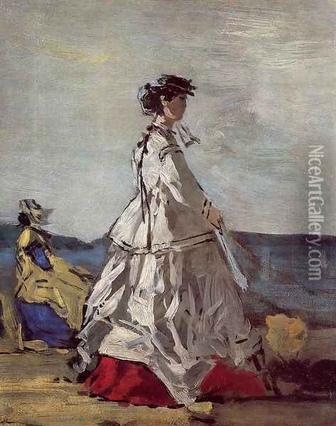 Princess Metternich on the Beach Oil Painting - Eugene Boudin
