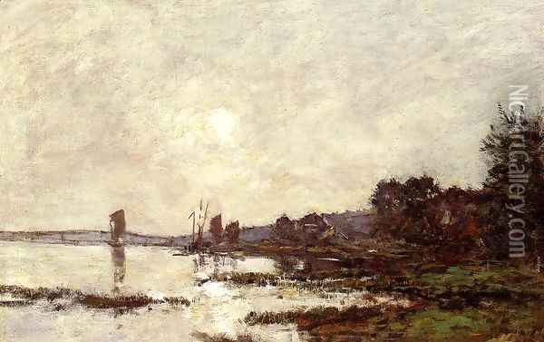 Inlet at Faou Oil Painting - Eugene Boudin