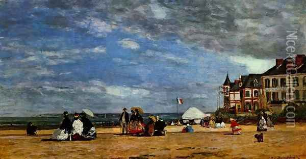 The beach at Trouville Oil Painting - Eugene Boudin