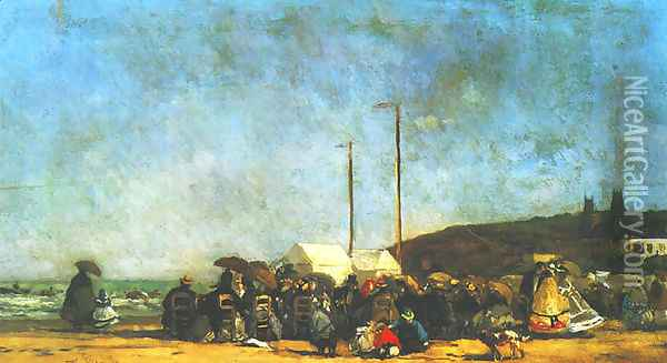 Beach at Trouville 2 Oil Painting - Eugene Boudin