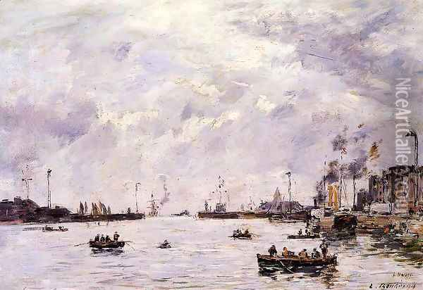 Le Havre, the Outer Port Oil Painting - Eugene Boudin
