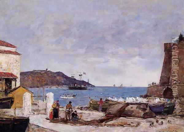 The Bay of Villefranche, the Port Oil Painting - Eugene Boudin
