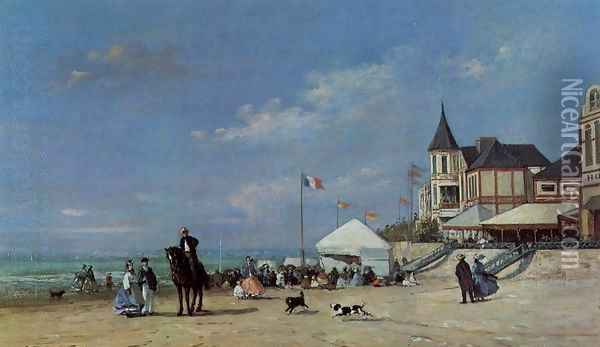 The Trouville Beach Oil Painting - Eugene Boudin
