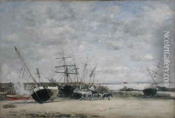 Vessels and Horses on the Shoreline Oil Painting - Eugene Boudin