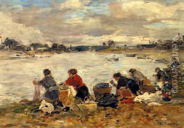 Laundresses on the Banks of the Touques VII Oil Painting - Eugene Boudin