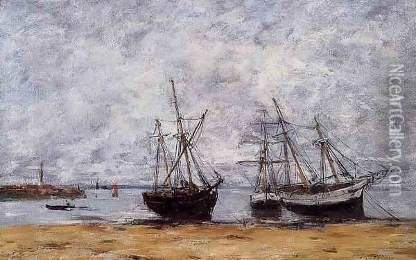 Portrieux, the Port at Low Tide Oil Painting - Eugene Boudin