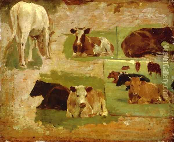 Study of Cows c.1860 Oil Painting - Eugene Boudin