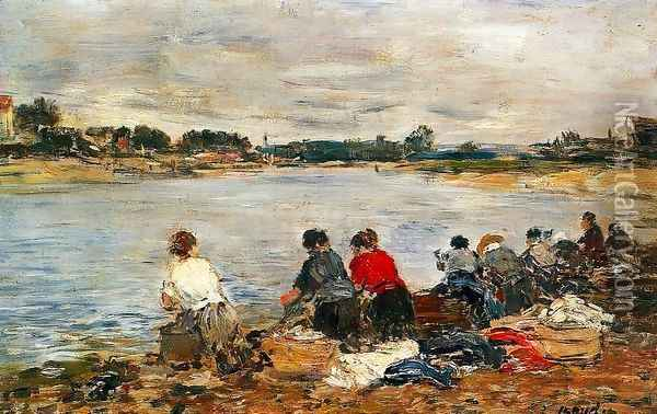 Laundresses on the Banks of the Touques II Oil Painting - Eugene Boudin
