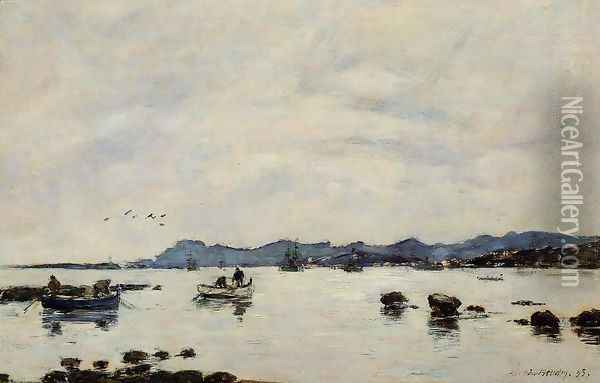 Golfe-Juan, the Bay and the Mountains of Esterel Oil Painting - Eugene Boudin