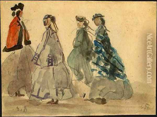 Four Women at Trouville Oil Painting - Eugene Boudin
