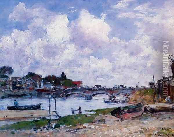 The Bridge over the Toques at Deauville Oil Painting - Eugene Boudin