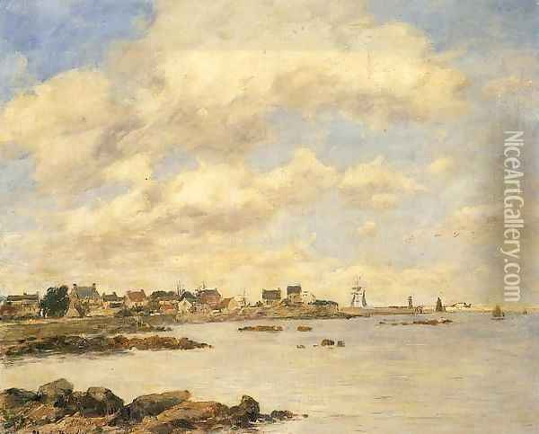 View of Saint-Vaast-La-Houghe Oil Painting - Eugene Boudin