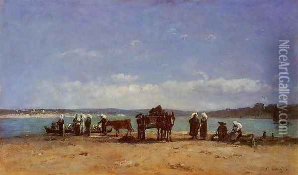 Brittany, Fishermen's Wives on the Shore Oil Painting - Eugene Boudin