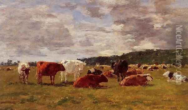 Pasture at Deauville Oil Painting - Eugene Boudin