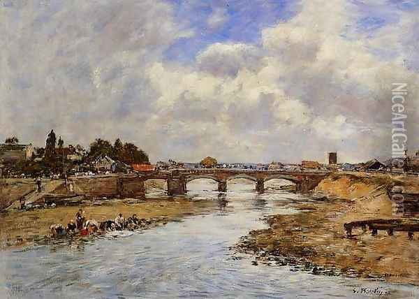 Laundresses on the Banks of the Touques X Oil Painting - Eugene Boudin
