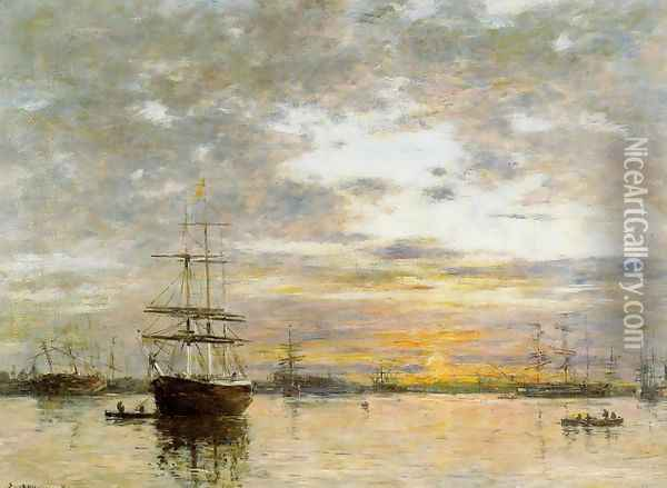 The Port of Le Havre at Sunset Oil Painting - Eugene Boudin