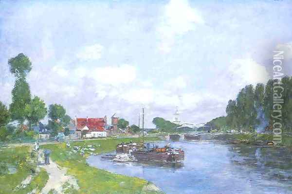 Barges on the Canal, Saint-Valery-sur-Somme Oil Painting - Eugene Boudin