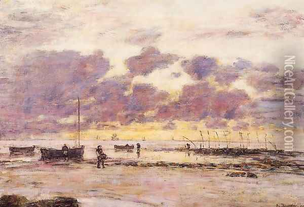 The Shores of Sainte Adresse at Twilight Oil Painting - Eugene Boudin