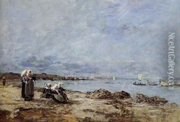 Plougastel, Women Waiting for the Ferry Oil Painting - Eugene Boudin