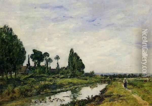 Small Canal at Quilleboeuf Oil Painting - Eugene Boudin