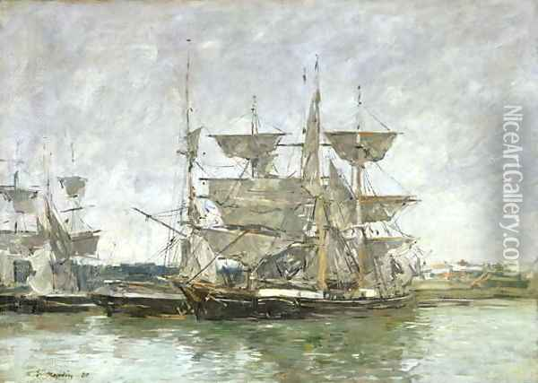 Boats in the Port, Deauville, 1881 Oil Painting - Eugene Boudin
