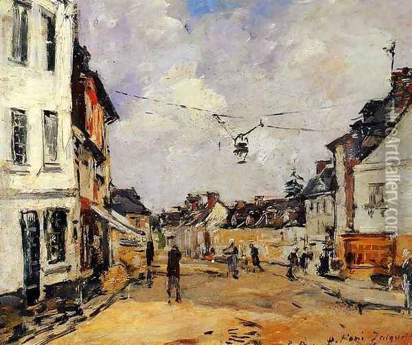 Fervaques, the Main Street Oil Painting - Eugene Boudin